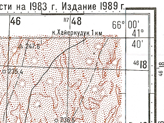 Reduced fragment of topographic map ru--gs--100k--k41-096--N041-40_E065-30--N041-20_E066-00