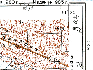 Reduced fragment of topographic map ru--gs--100k--k41-099--N041-20_E061-00--N041-00_E061-30; towns and cities Gaz-achak, Khazarasp, Sheykharyk, Bezergen, Druzhba