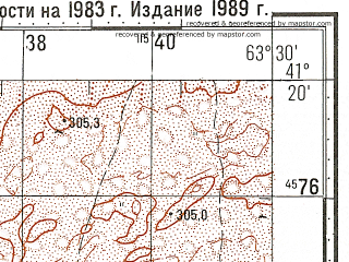 Reduced fragment of topographic map ru--gs--100k--k41-103--N041-20_E063-00--N041-00_E063-30; towns and cities Uzunkuduk