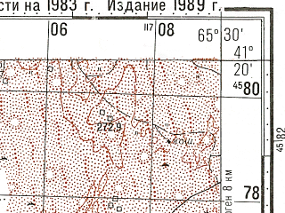 Reduced fragment of topographic map ru--gs--100k--k41-107--N041-20_E065-00--N041-00_E065-30; towns and cities Ayakkuduk