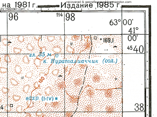 Reduced fragment of topographic map ru--gs--100k--k41-114--N041-00_E062-30--N040-40_E063-00