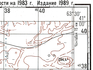 Reduced fragment of topographic map ru--gs--100k--k41-115--N041-00_E063-00--N040-40_E063-30; towns and cities Dzhangeldy, Kalata