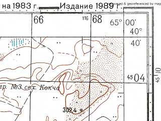 Reduced fragment of topographic map ru--gs--100k--k41-130--N040-40_E064-30--N040-20_E065-00; towns and cities Kokcha