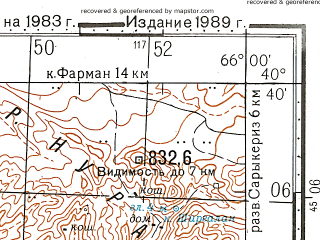 Reduced fragment of topographic map ru--gs--100k--k41-132--N040-40_E065-30--N040-20_E066-00; towns and cities Nurata