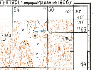 Reduced fragment of topographic map ru--gs--100k--k41-137--N040-20_E062-00--N040-00_E062-30; towns and cities Gerelde