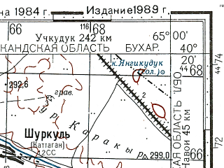 Reduced fragment of topographic map ru--gs--100k--k41-142--N040-20_E064-30--N040-00_E065-00; towns and cities Gizhduvan, Shafirkan, Vabkent