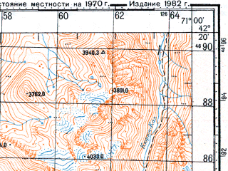 Reduced fragment of topographic map ru--gs--100k--k42-070--N042-20_E070-30--N042-00_E071-00