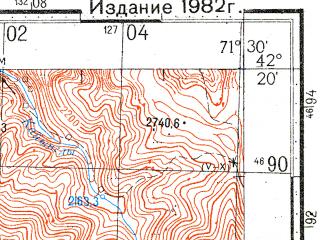 Reduced fragment of topographic map ru--gs--100k--k42-071--N042-20_E071-00--N042-00_E071-30