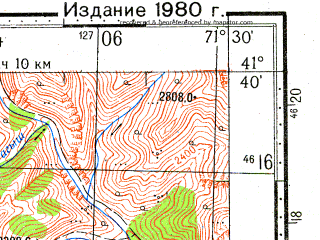 Reduced fragment of topographic map ru--gs--100k--k42-095--N041-40_E071-00--N041-20_E071-30; towns and cities Ala-buka, Terek-say