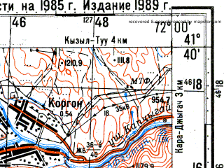 Reduced fragment of topographic map ru--gs--100k--k42-096--N041-40_E071-30--N041-20_E072-00; towns and cities Zarkent
