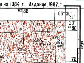Reduced fragment of topographic map ru--gs--100k--k42-097--(1984)--N041-20_E066-00--N041-00_E066-30