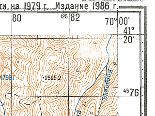 Reduced fragment of topographic map ru--gs--100k--k42-104--N041-20_E069-30--N041-00_E070-00; towns and cities Krasnogorskiy, Parkent