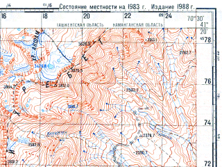 Reduced fragment of topographic map ru--gs--100k--k42-105--N041-20_E070-00--N041-00_E070-30; towns and cities Angren, Yangiabad