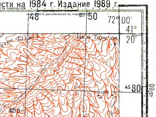 Reduced fragment of topographic map ru--gs--100k--k42-108--N041-20_E071-30--N041-00_E072-00; towns and cities Kasansay, Uychi, Yangikurgan, Chartak