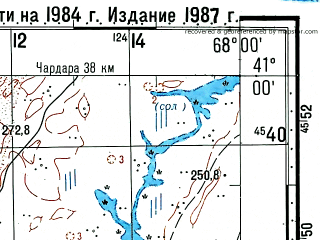 Reduced fragment of topographic map ru--gs--100k--k42-112--(1984)--N041-00_E067-30--N040-40_E068-00
