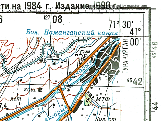 Reduced fragment of topographic map ru--gs--100k--k42-119--N041-00_E071-00--N040-40_E071-30; towns and cities Chust