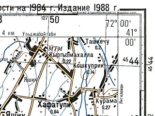 Download topographic map in area of Namangan Turakurgan Yazyavan
