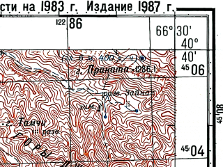Reduced fragment of topographic map ru--gs--100k--k42-121--(1983)--N040-40_E066-00--N040-20_E066-30; towns and cities Zulumsary