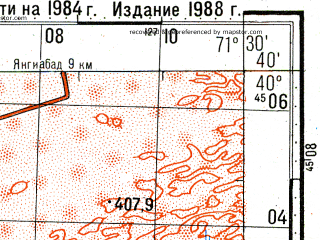 Reduced fragment of topographic map ru--gs--100k--k42-131--N040-40_E071-00--N040-20_E071-30; towns and cities Kuybyshevo