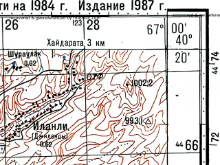 Reduced fragment of topographic map ru--gs--100k--k42-134--(1984)--N040-20_E066-30--N040-00_E067-00; towns and cities Koshrabad