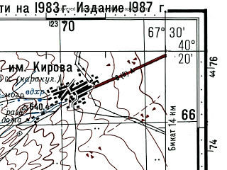 Reduced fragment of topographic map ru--gs--100k--k42-135--(1983)--N040-20_E067-00--N040-00_E067-30; towns and cities Koytash, Khatcha