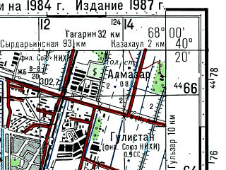 Reduced fragment of topographic map ru--gs--100k--k42-136--(1984)--N040-20_E067-30--N040-00_E068-00; towns and cities Dzhizak, Gallyaaral