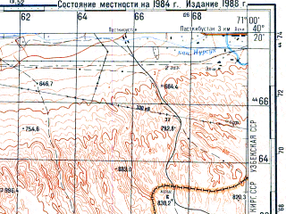 Reduced fragment of topographic map ru--gs--100k--k42-142--N040-20_E070-30--N040-00_E071-00; towns and cities Isfara, Shurab, Shorsu, Nefteabad