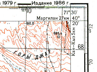 Reduced fragment of topographic map ru--gs--100k--k42-143--N040-20_E071-00--N040-00_E071-30; towns and cities Sovetskiy