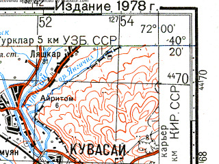Reduced fragment of topographic map ru--gs--100k--k42-144--N040-20_E071-30--N040-00_E072-00; towns and cities Kuvasay, Chimion
