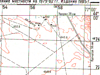Reduced fragment of topographic map ru--gs--100k--k43-010--N044-00_E076-30--N043-40_E077-00