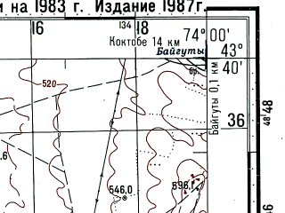 Reduced fragment of topographic map ru--gs--100k--k43-016--(1983)--N043-40_E073-30--N043-20_E074-00; towns and cities Chu, Novotroitskoye, Brlik
