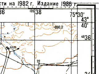 Reduced fragment of topographic map ru--gs--100k--k43-019--N043-40_E075-00--N043-20_E075-30; towns and cities Otar