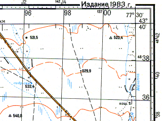 Reduced fragment of topographic map ru--gs--100k--k43-023--N043-40_E077-00--N043-20_E077-30; towns and cities Issyk, Imeni Panfilova, Kirbaltabay, Novoalekseyevka, Alatau