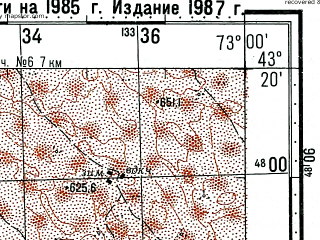 Reduced fragment of topographic map ru--gs--100k--k43-026--(1985)--N043-20_E072-30--N043-00_E073-00