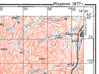 Reduced fragment of topographic map ru--gs--100k--k43-053--N042-40_E074-00--N042-20_E074-30