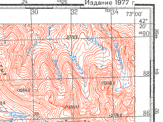 Reduced fragment of topographic map ru--gs--100k--k43-062--N042-20_E072-30--N042-00_E073-00