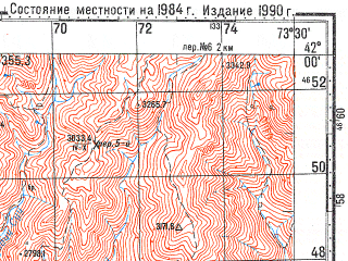 Reduced fragment of topographic map ru--gs--100k--k43-075--N042-00_E073-00--N041-40_E073-30; towns and cities Torkent