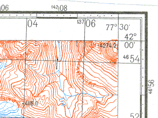 Reduced fragment of topographic map ru--gs--100k--k43-083--N042-00_E077-00--N041-40_E077-30