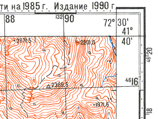 Reduced fragment of topographic map ru--gs--100k--k43-085--N041-40_E072-00--N041-20_E072-30; towns and cities Tash-kumyr