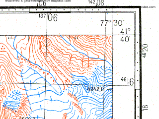 Reduced fragment of topographic map ru--gs--100k--k43-095--N041-40_E077-00--N041-20_E077-30