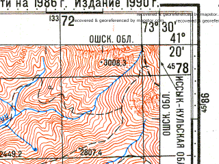 Reduced fragment of topographic map ru--gs--100k--k43-099--N041-20_E073-00--N041-00_E073-30; towns and cities Kok-yangak, Kairma