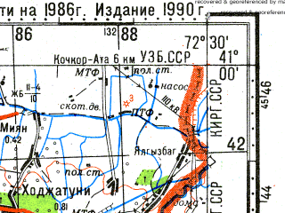 Reduced fragment of topographic map ru--gs--100k--k43-109--N041-00_E072-00--N040-40_E072-30; towns and cities Andizhan, Kokankishlak, Moskovskiy, Naryn, Paytug