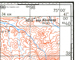 Reduced fragment of topographic map ru--gs--100k--k43-114--N041-00_E074-30--N040-40_E075-00; towns and cities Arpa