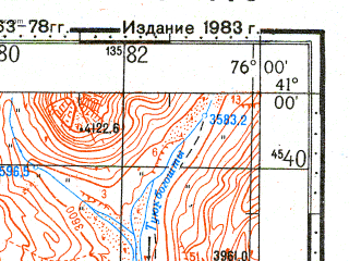 Reduced fragment of topographic map ru--gs--100k--k43-116--N041-00_E075-30--N040-40_E076-00; towns and cities Kek-aygyr