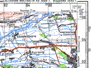 Reduced fragment of topographic map ru--gs--100k--k43-121--N040-40_E072-00--N040-20_E072-30; towns and cities Leninsk, Fedchenko, Kuva, Palvantash