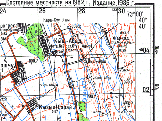 Reduced fragment of topographic map ru--gs--100k--k43-122--N040-40_E072-30--N040-20_E073-00; towns and cities Osh, Aravan