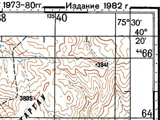 Reduced fragment of topographic map ru--gs--100k--k43-139--(1973)--N040-20_E075-00--N040-00_E075-30; towns and cities Chia-ko-ma-ko