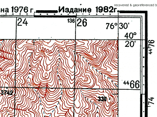 Reduced fragment of topographic map ru--gs--100k--k43-141--(1976)--N040-20_E076-00--N040-00_E076-30; towns and cities To-kai-erh-mai-tan