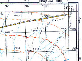 Reduced fragment of topographic map ru--gs--100k--k44-013--N043-40_E078-00--N043-20_E078-30; towns and cities Chilik, Malybay