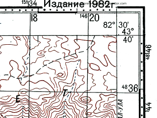 Reduced fragment of topographic map ru--gs--100k--k44-021--(1978)--N043-40_E082-00--N043-20_E082-30
